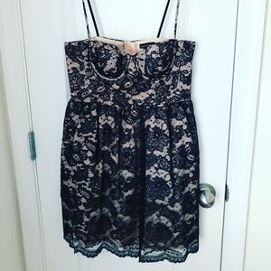 Ivory + black lace mini dress!